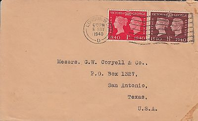 D 1507 London 6 May 1940 cover USA; 2 1/2d rate; Just Centenary stamps -  fdi