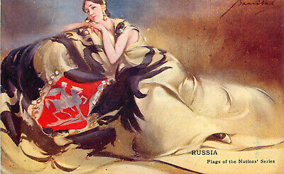 Postcard Flags of the Nations Series Russia Signed Artist Barribal Woman W/ Flag](Flags Of The Nations)