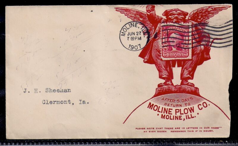 1907 Moline Plow Co Advertising Stamp Collar - Moline, Illinois to Clermont, IA