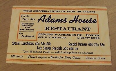 """1940's ADVERTISING Card~""""ADAMS HOUSE Restaurant"""" BOSTON MASS~Meal Prices~"""