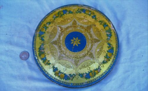 "Fancy fruit decor round 8-14"" diameter fruit cake or candy tin ""TIN DECO"" 1920"