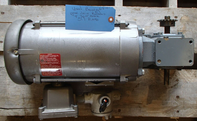 Browning Gear Drive Reducer 133Q56LR5A Baldor 3/4hp Mtr VL5007A Used T/O