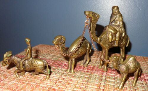 3 VINTAGE ORNATE BRASS CAMELS & DONKEY JERUSALEM ISRAEL MADE? NATIVITY FIGURINES