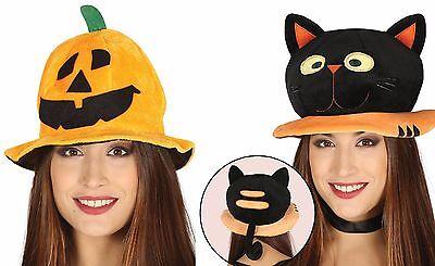 Damen Mädchen Jungen 3D Plüsch Pumpkin schwarz Katze Halloween Kostüm Hut
