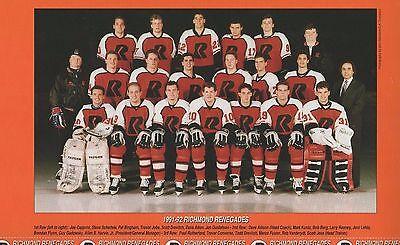 1991 - 1992 Richmond Renegades Team Photo & Player cards - minor league hockey