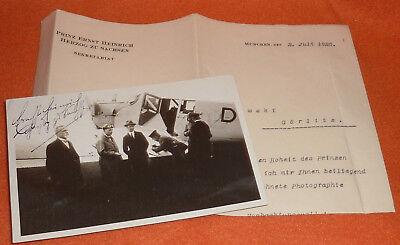 Prinz Ernst Heinrich von Sachsen als Pilot Junkers Ju 52 Autograph + Brief 1926
