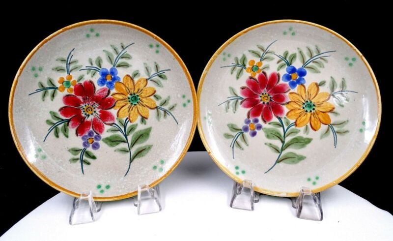 """ROYAL GOUDA ART POTTERY #6099 FLORAL AND LEAVES 2 PC 7 1/4"""" SALAD PLATES"""