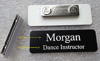 Custom Name Tag 3x1 Black White Letters W Round Corners Magnet Attachment