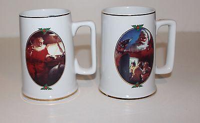 2-Coca Cola Santa Christmas Coffee Mugs-For Santa & Good Boys & Girls 1996