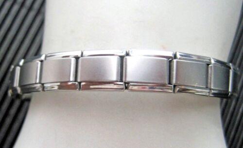 Italian Modular Charm 9mm Links Matte Stainless Steel Bracelet Made in Italy