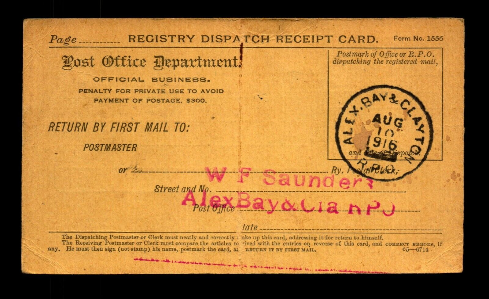 1916 Alex Bay Clayton RPO Receipt Card - L19485 - $4.23