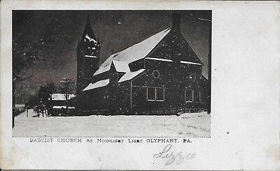 Baptist Church At Moonlight Light Olyphant Pa Handsome Vintage Postcard 1907