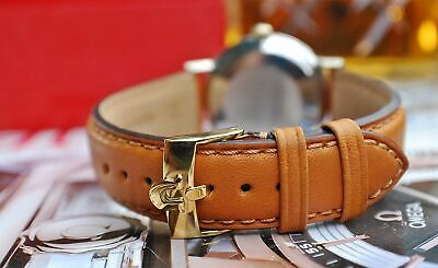OMEGA GOLD OR SILVER PLATED BUCKLE ON 18mm TAN LEATHER WATCH STRAP-EXCELLENT! Leather Watch Strap Plated Buckle