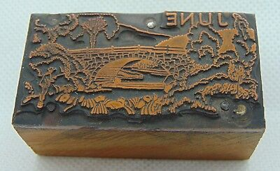 Vintage Printing Letterpress Printers Block Month Of June Bridge Trees