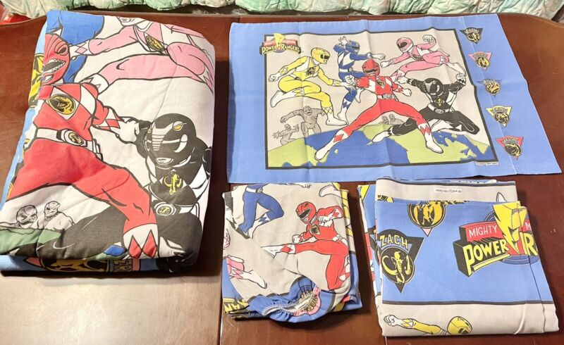 Vtg 94 Mighty Morphin Power Rangers Comforter Flat Fitted Pillow Case Twin Bed