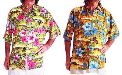 Laut Hawaiihemd Gelb mit Blau oder Rosa Hibiskus Blumen Junggesellenabschied