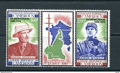 Cameroon 1971 Sc 160a 2 stamps and label MNH De Goulle  10699