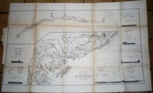 1862 CIVIL WAR MAP ~ CHARLESTON TO HILTON HEAD, S.C. ~ VIGNETTES OF 7 FORTS