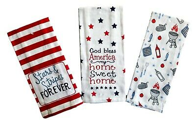 Patriotic Americana Stars and Stripes Forever Printed Kitchen Towels – Set of 3
