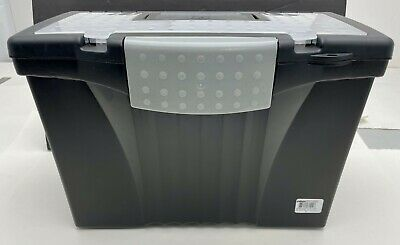 Black Storex Portable File Storage Box With Organizer Lid Letterlegal 17x9x11in