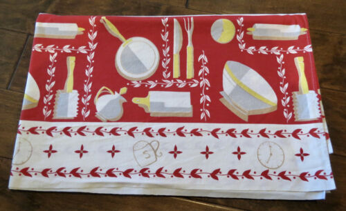 Vintage 1950s California Print Tablecloth Country Kitchen
