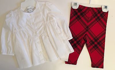 NWT Ralph Lauren Baby Girl White Polo Shirt Plaid Leggings Pants 3 6 9 24 Mos Baby Girl Ralph Lauren Pants