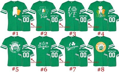 St. Patricks Day Tee Customized Football Jersey Shirts Text Name Number St Patty
