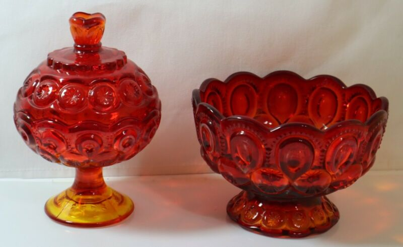 VINTAGE 1950s RUBY RED GLASS CANDY DISH & BOWL