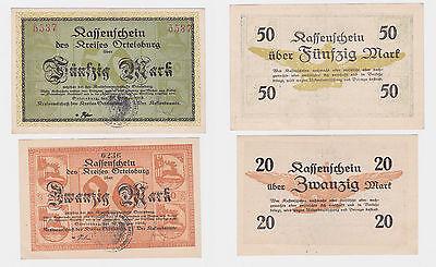 20 und 50 Mark Banknoten Notgeld Kreis Ortelsburg Szczytno 30.10.1918 (119976)