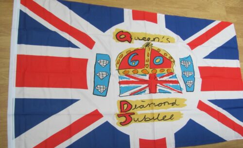 Queen Elizabeth Jubilee Polyester large Flags  5ft x 3ft Souvenir with eyelets