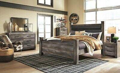 Ashley Furniture Wynnlow Queen Upholstered Poster 6 Piece Bedroom Set