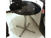 Black Glass Oval Coffee Table / Side Table with Chrome Leg Base