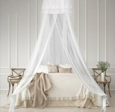 Stunning Dreamy White Round Bed Canopy Mosquito Net Princess Bedroom Décor Mesh
