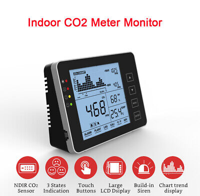 Indoor Air Quality Monitor Co2 Meter Leak Detector 05000ppm Range Touch Buttom