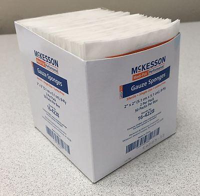 100/Box!! Medical Sterile Drain Gauze Wound Cut Sponges Dressing 2x2 8Ply Cotton