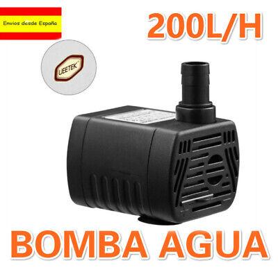BOMBA AGUA SUMERGIBLE de 200L/H 3W CAUDAL REGULABLE ACUARIO FUENTE ESTANQUE