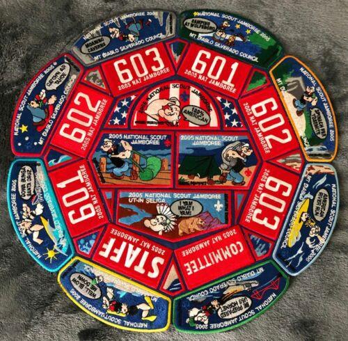 Boy Scout Mt Diablo Silverado Council 2005 Jamboree Popeye Patch Set BSA OA Flap