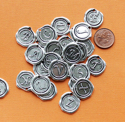 6 Alphabet Letter Charms Antique Silver Tone Choose Your Initial Wax Seal - Alphabet Charms