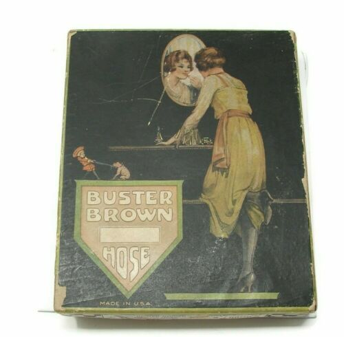 Antique Buster Brown Hose Box with 3 Pairs of Hose Flapper Era
