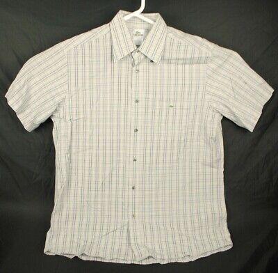 Lacoste Men's Size 42 - L Button Down Shirt Short Sleeve Plaid Grey