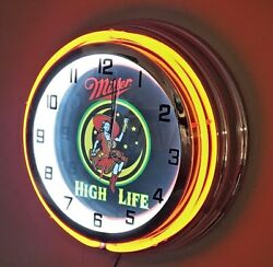 Miller High Life Lady in the Moon Red Neon Clock - 19 Diameter