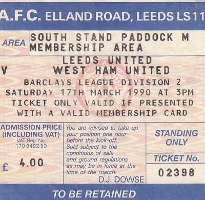 Ticket - Leeds United v West Ham United 17.03.90