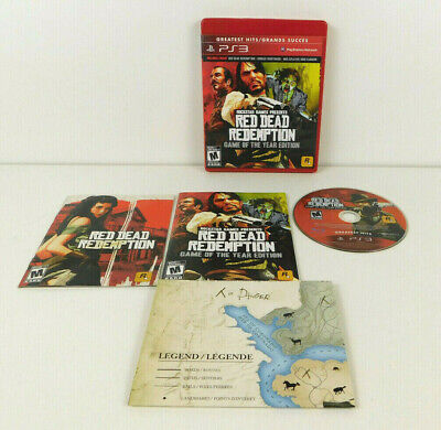 Red Dead Redemption Game of the Year PS3 Complete w/ Map - Scratch Free