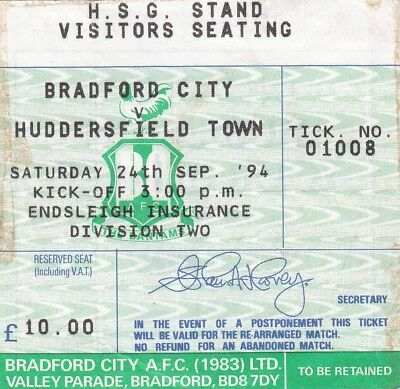 Ticket - Bradford City v Huddersfield Town 24.09.94
