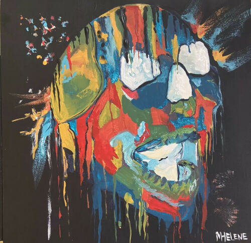 ORIGINAL ARTWORK Acrylic Wood Outsider Art Portrait Skull Scary Bright - $50.00