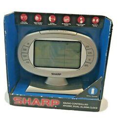Sharp Radio Controlled Atomic Dual Alarm Clock Indoor Outdoor Sensor Temperature