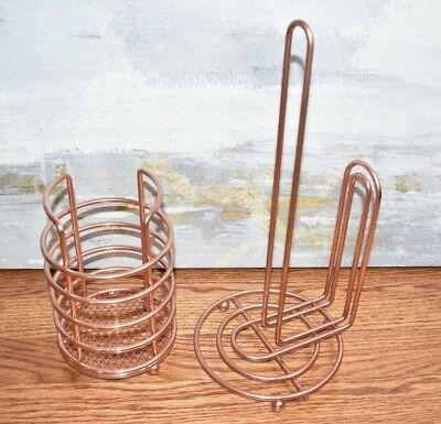 Rose Gold Copper Paper Towel Utensil Holder Kitchen Metal Storage NEW