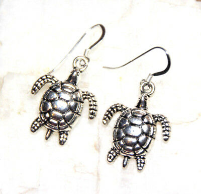 Sea Turtle Earrings Turtles 925 sterling silver earrings hooks pewter charms