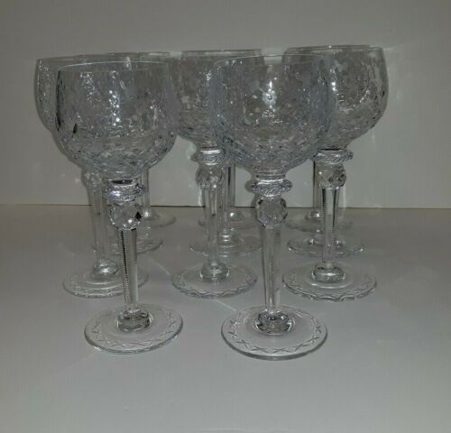 Set Tall Old or Antique Cut Crystal Wine Glasses 11 pcs.