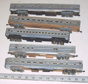 lot of five vintage ho streamlined illuminated wooden wood passenger train cars ebay. Black Bedroom Furniture Sets. Home Design Ideas